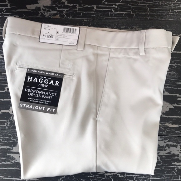 Haggar Mens H26 4 Way Stretch Fit Trouser No Iron Pants Beige Pants Clothing Shoes Accessories